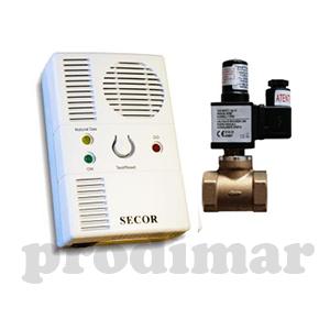 """Echipament S2000 cu detector gaz metan SECOR 2000 si electrovalva de alama 1/2"""" la 230V"""