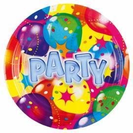 8 Farfurii carton plastifiat 18cm Ballon Party