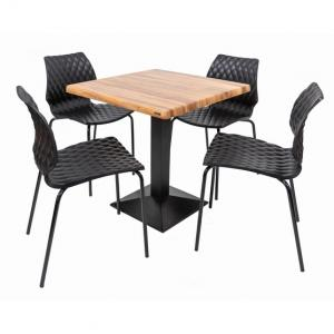 Set terasa outdoor masa CARDIFF WASHED ELM cu scaune UNI 550