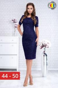 Rochie midi eleganta din dantela Marlo bleumarin