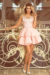 Rochie eleganta scurta cu dantela si volane Alexis roz pastel