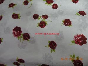 Bumbac satinat cu flori rosii
