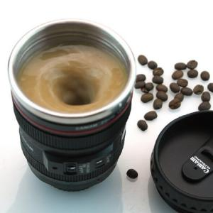 Cana mixer incorporat de ness obiectiv aparat Self-Stirring Camera Lens Mug
