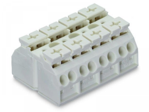 4-conductor chassis-mount terminal strip; 4-pole; without ground contact; 4 mmA²; 4,00 mmA²; white