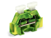 2-conductor terminal block; on both sides with push-button; with fixing flange; for screw or similar mounting types; Fixing hole 3.2 mm A˜; 2.5 mmA²; CAGE CLAMPA®; 2,50 mmA²; green-yellow