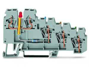 4-conductor sensor terminal block; LED (red); for PNP-(high-side) switching sensors; 2.5 mmA²; CAGE CLAMPA®; 2,50 mmA²; gray