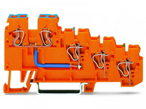 4-conductor sensor supply terminal block; Internal commoning, 9 A; with colored conductor entries; 2.5 mmA²; CAGE CLAMPA®; 2,50 mmA²; orange