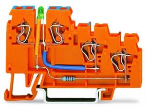 3-conductor sensor supply terminal block; LED (green); 2.5 mmA²; CAGE CLAMPA®; 2,50 mmA²; orange