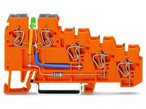 4-conductor sensor supply terminal block; LED (green); 2.5 mmA²; CAGE CLAMPA®; 2,50 mmA²; orange