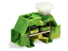 Space-saving, 4-conductor end terminal block; on one side with push-buttons; without protruding snap-in mounting foot; for terminal strips with snap-in mounting feet; 2.5 mmA²; CAGE CLAMPA®; 2,50 mmA²; green-yellow