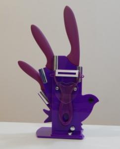 Set 3 cutite ceramica cu suport si curatator Ceramic Knife 004