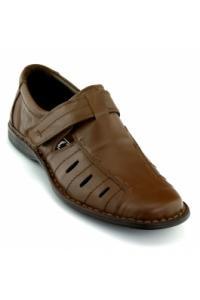 Pantofi de vara Otter maron, din piele naturala