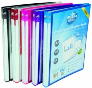 Dosar de prezentare personalizabil cu 40 folii, A4, coperta rigida, PUKKA - transparent roz