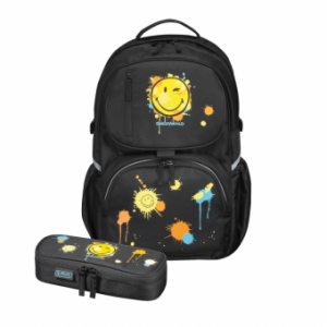 ! RUCSAC BE.BAG ERGONOMIC +NECESSAIRE BE.BAG CUBE 32X44X23CM SMILEY WORLD EDITIE BLACK