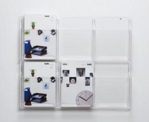 Suport pliante de perete, 6 x A4, HELIT - transparent