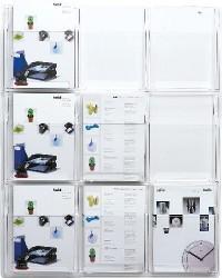 Suport pliante de perete, 9 x A4, HELIT - transparent
