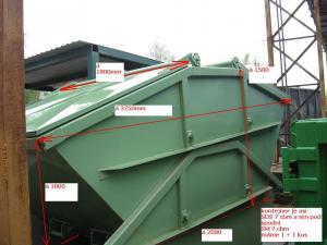 Containere metalice pentru depozitare si transport de 7 mc, simetrice cu capac, cu grosimea tablei de 6/4 mm