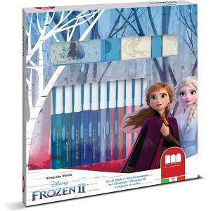 Set pictura 22 piese, 2 stampile, tus, 18 carioci si caiet cu activitati Frozen 2 Multiprint MP86981
