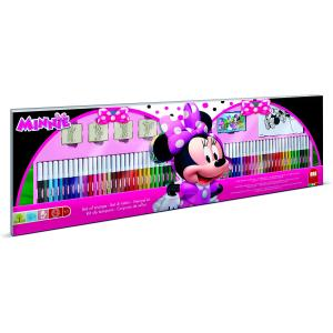 Set pictura 96 piese, 4 stampile, tus, 60 carioci, 30 stickere si caiet cu activitati Minnie Multiprint MP18866