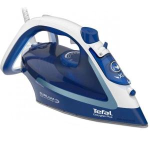 Fier de calcat TEFAL EasyGliss Plus FV5735E0, 2500W, 220g/min, Easygliss Plus , Durilium AirGlide, sistem anticalcar, functie calcare verticala, Auto OFF, Autosteam, alb&albastru
