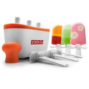 Aparat de inghetata ZOKU Quick Pop Maker ZK101, 3 incinte, 7 minute, nu contine BPA, Alb/Portocaliu