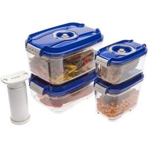 Set de caserole vacuum dreptunghiulare Status Smaller format din 4 recipiente de plastic si o pompa manuala (Albastru)