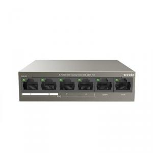 Switch desktop Tenda TEF1106P-4-63W cu 6 porturi 10/100Mbps, cu 4 porturi PoE, protectie fulger 6kV