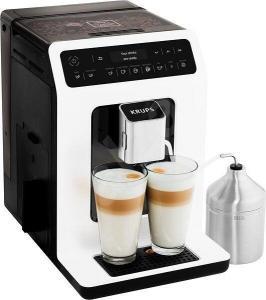 Espressor Automat Krups Evidence EA891110 XS60000, 1450W, 15 bari, functie One-Touch Cappuccino, alb, display intuitiv, rezervor de apa de capacitate mare, Negru/Alb