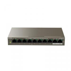 Switch desktop Gigabit Tenda TEG1109P-8-102W cu 8-Port PoE, protectie fulger 6KV, VLAN, management