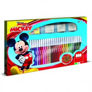 Set pictura 41 piese, 3 stampile, tus, 36 carioci si caiet cu activitati Mickey Multiprint MP57945