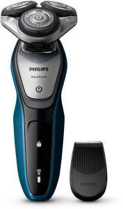 Aparat de barbierit Philips AquaTouch S5420/06, Fara fir, Wet And Dry, 45 minute, Albastru/Gri
