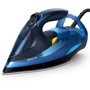 Fier de calcat Philips Azur Advanced GC4932/20, 2600 W, Talpa SteamGlide Plus, Tehnologie OptimalTEMP, Curatare automata, Negru/Albastru