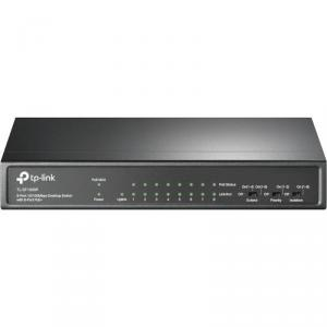 TP-LINK TPL 9P-10/100 8POE DESKTOP SWITCH Switch TP-Link TL-SF1009P, 9 porturi 10/100Mbps, 8 porturi PoE, metal.