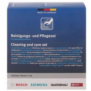 Set de curatre si intretinere suprafete din otel inoxidabil Bosch Conditioning cloth and Cleaning powder