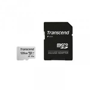 Card de memorie Transcend USD300S, microSDXC, 128 GB, 95 MB/s Citire, 45 MB/s Scriere, Clasa 10 UHS-I U3 + Adaptor SD