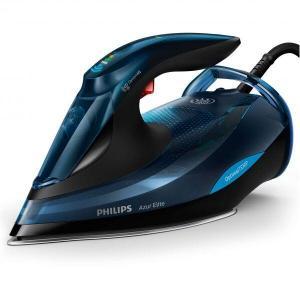 Fier de calcat Philips Azur Elite GC5034/20, 3000 W, Talpa SteamGlide Plus, Tehnologie OptimalTEMP, 65 g/min, Jet de abur vertical, Albastru/Negru