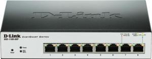D-Link, Switch Desktop / Rack mount 8 porturi 10/100/1000, EasySmart, Web Management, Fanless, PoE,