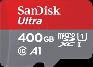 Card de memorie SanDisk Ultra microSDXC SDSQUA4-400G-GN6MA, 400GB, A1, UHS-I, Clasa10 + Adaptor SD