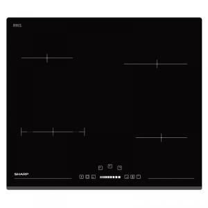 Plita incorporabila Sharp KH6V08BS00EU, Vitroceramica, 5900 W, 4 zone de gatit, 60 cm, Touch control, functie Timer