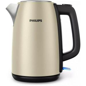 Fierbator Philips Daily Collection HD9352/50, 1.7l, Indicator luminos, 2200W, Metalic , Capac cu Resort, Baza rotativa, Oprire automata, Auriu