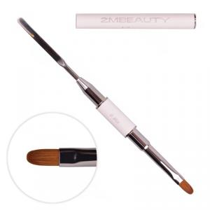 Pensula acryl pro gel 2M White Abstract cu doua capete