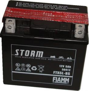 Baterie acumulator moto 12V 5Ah Caranda by FIAMM din gama STORM, FTX5L-BS