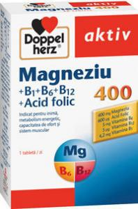 DoppelHerz Aktiv Magneziu 400 mg, Vitamina B1, B12, Acid Folic x30 tablete