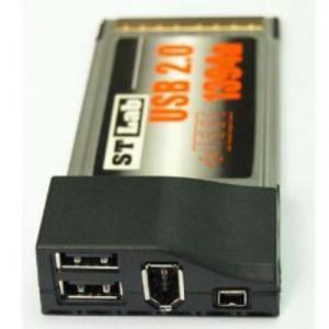 Card PCMCIA adaptor la 2 x USB 2.0 si 1 FireWire ST Lab