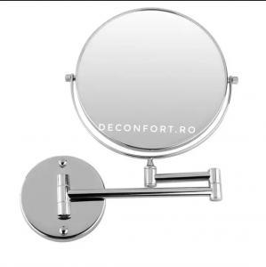 Oglinda cosmetica cromata doua fete zoom3x brat extensibil prindere perete baie