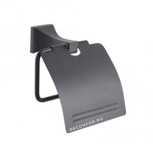Suport hartie toaleta negru mat ELLEN rabatabil aspect baie retro