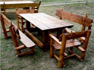 Mobilier pentru gradina - Masa pt. gradina cu banci si scaune pt. 10 pesoane