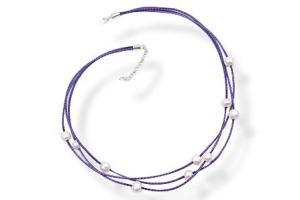 Colier purpuriu din piele, cu perle naturale si argint KSP2307