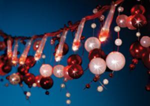 Instalatie brad de Craciun 1,5 m cu led-uri albe si perle albe si rosii 22003