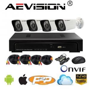 Kit 4 camere IP full HD 2MP cu NVR Aevision AE-N6100-4ET-2MP